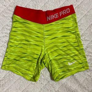 Nike PRO Neon High Waisted Athletic Shorts